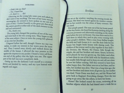 The end of 'Araby' and start of 'Eveline' from James Joyce's Dubliners